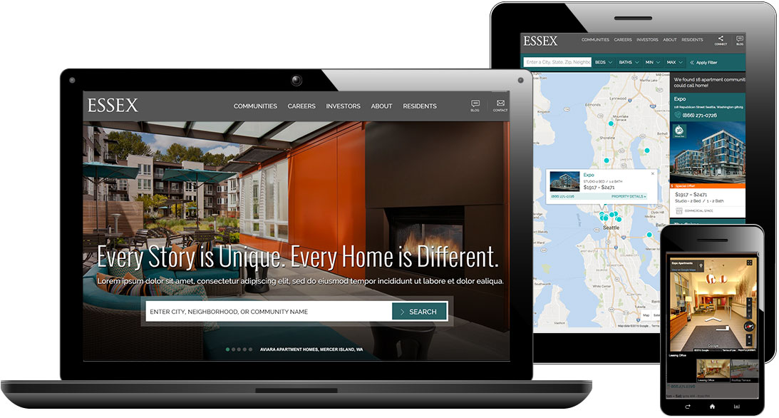 Essex Apartment Homes website set