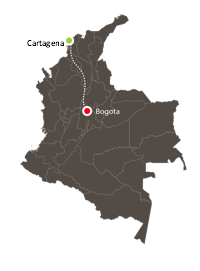 Map of Columbia with path from Cartegena (north) to Bogota (north-central)
